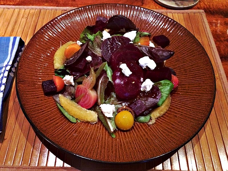 Beet salad with fresh greens