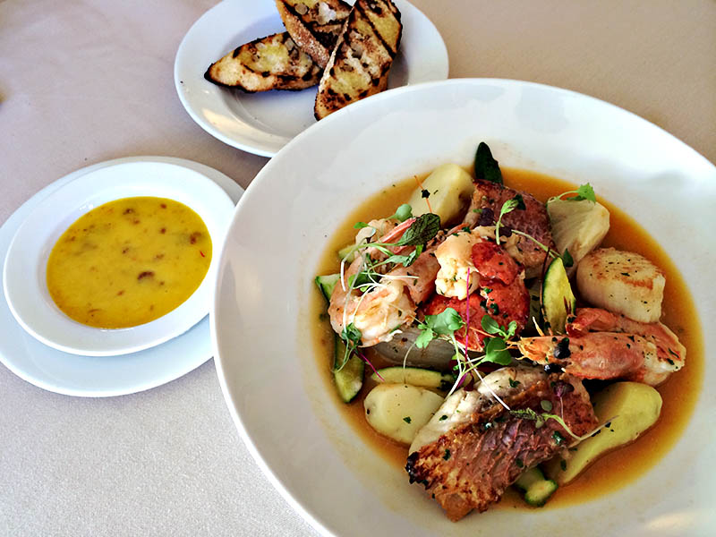 Seafood bouillabaisse with roasted garlic aioli